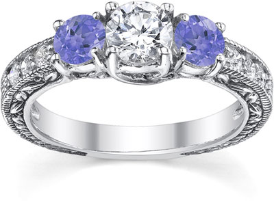 Antique-Style Tanzanite and Diamond Engagement Ring, 14K White Gold