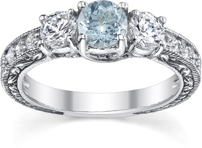 Antique-Style Three Stone Diamond and Aquamarine Engagement Ring, 14K White Gold