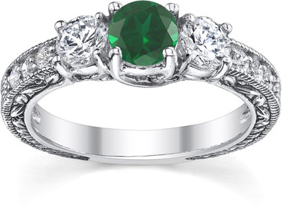 Antique-Style Three-Stone Diamond and Emerald Engagement Ring, 14K White Gold