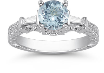 Aquamarine and Baguette Diamond Engagement Ring, 14K White Gold
