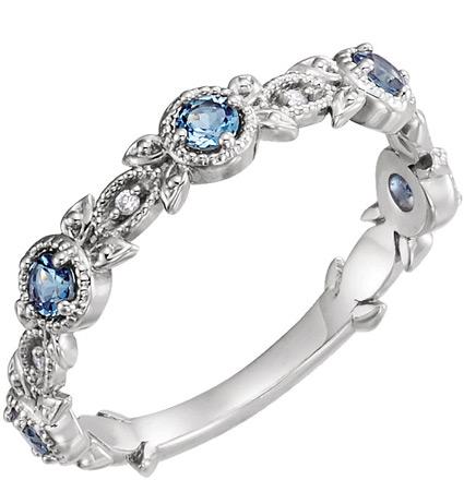 Aquamarine and Diamond Leaf Ring, 14K White Gold