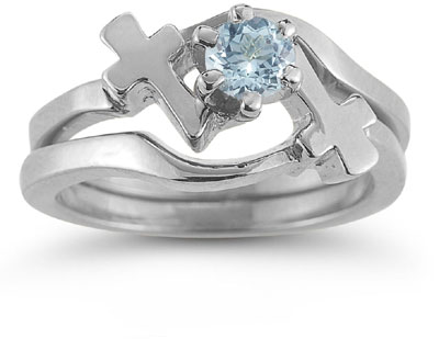 Aquamarine Cross Wedding Ring Bridal Set, 14K White Gold