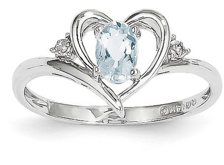 Aquamarine Heart Ring, 14K White Gold