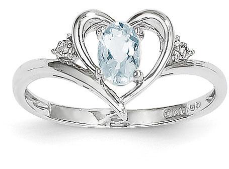 Aquamarine Heart Ring, 14K White Gold