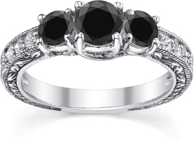 Black and White Three-Stone Vintage-Style Diamond Engagement Ring, 14K White Gold
