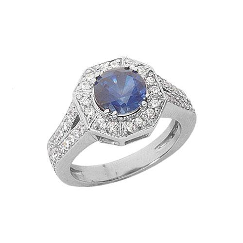 Sapphire 1 Carat Diamond Engagement Ring in 14K or 18K White Gold