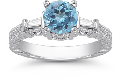 Blue Topaz and Diamond Engraved Engagement Ring, 14K White Gold