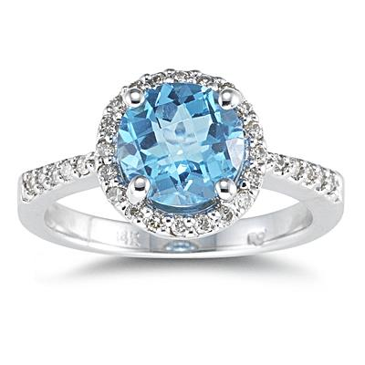 Round Blue Topaz and Diamond Ring, 14K White Gold