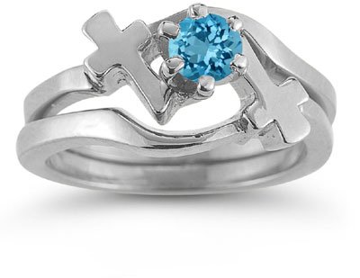 Blue Topaz Christian Cross Wedding Ring Bridal Set, 14K White Gold