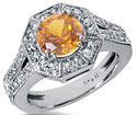 2 Carat Citrine and 0.68 Carat Diamond Halo Ring