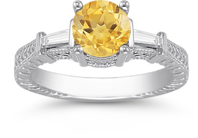 Citrine and Diamond Engraved Engagement Ring, 14K White Gold