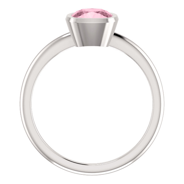Baby Pink Topaz Cushion-Cut Ring in 14K White Gold