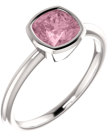 Sterling Silver Baby Pink Topaz Antique-Square Ring