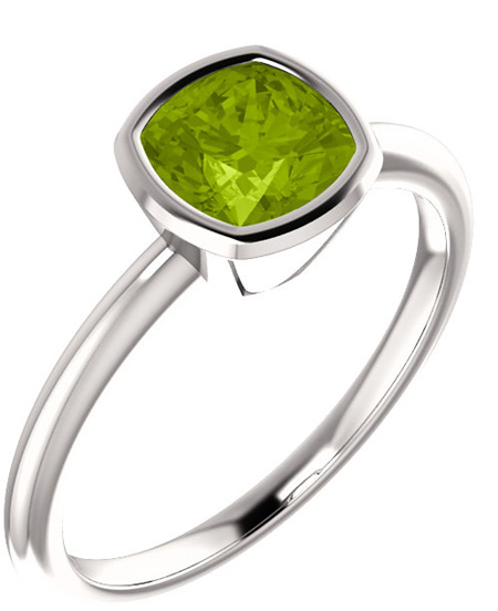 Cushion-Cut Green Peridot Bezel-Set Solitaire Ring