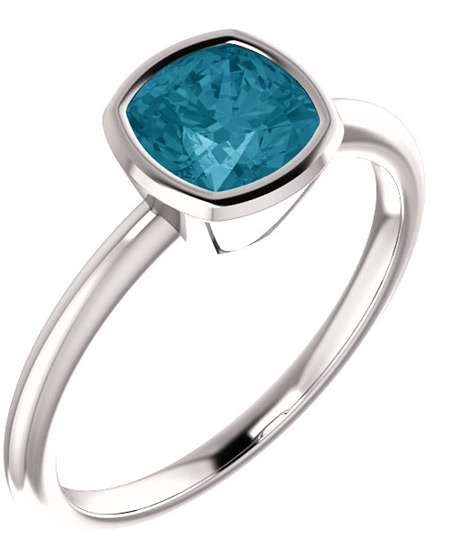 Cushion-Cut London Blue Topaz Solitaire Ring, 14K White Gold