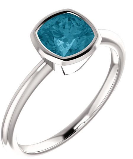 Sterling Silver Cushion-Cut London Blue Topaz Bezel-Set Ring