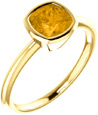 Honey Citrine Antique-Square Bezel-Set Ring in 14K Yellow Gold
