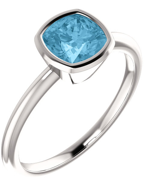 Blue Ice Topaz Antique-Square Bezel-Set Ring in Sterling Silver