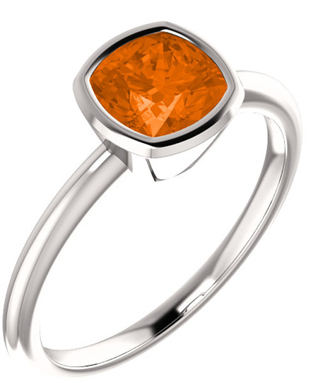 Poppy-Orange Topaz Antique-Square Bezel Set Ring, 14K White Gold