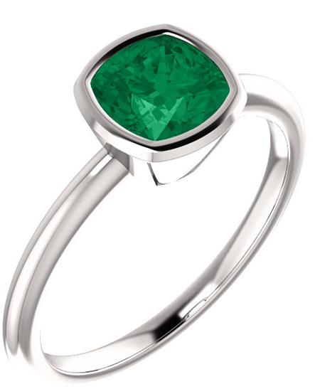 Rainforest Green Topaz Cushion-Cut Ring in 14K White Gold