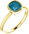 14K Yellow Gold London Blue Topaz Cushion-Cut Ring