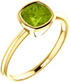 14K Yellow Gold Cushion-Cut Peridot Solitaire Ring