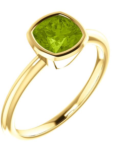 14K Yellow Gold Cushion-Cut Peridot Solitaire Ring