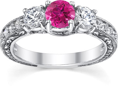 Pink Sapphire and Diamond Three Stone Antique-Style Ring in 14K White Gold