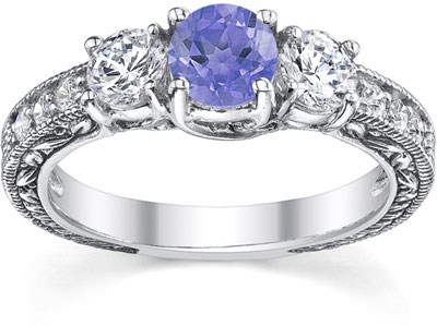 Diamond and Tanzanite Floret Engagement Ring, 14K White Gold