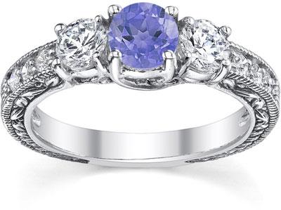 Diamond and Tanzanite Floret Engagement Ring, 14K White Gold