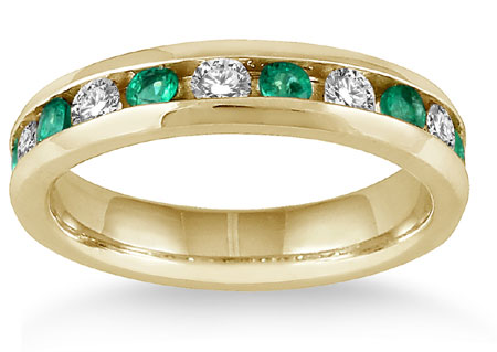 3/4 Carat Emerald and 1/2 Carat Diamond Band, 14K Yellow Gold