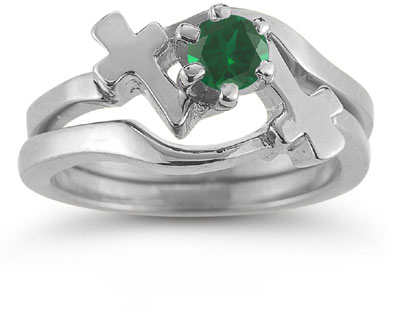 Emerald Cross Wedding Ring and Bridal Engagement Ring Set, 14K White Gold