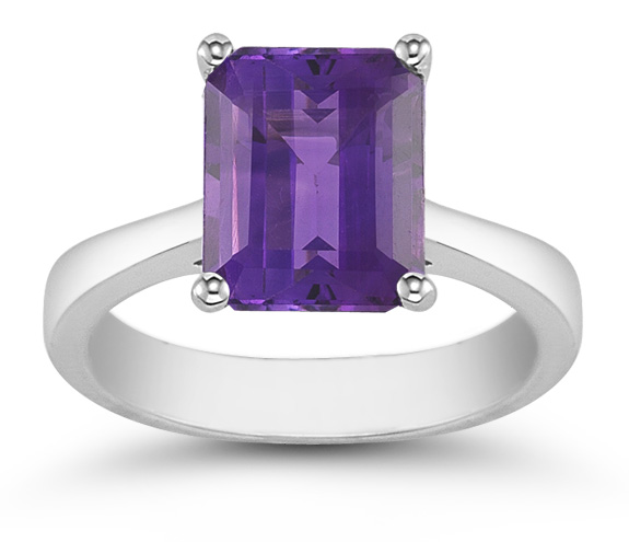 Emerald Cut 8mm x 6mm Amethyst Solitaire Ring, 14K White Gold