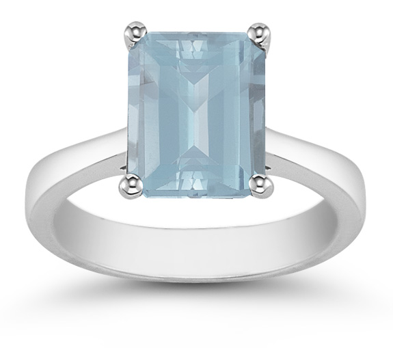 Emerald Cut Aquamarine Solitaire Ring, 14K White Gold