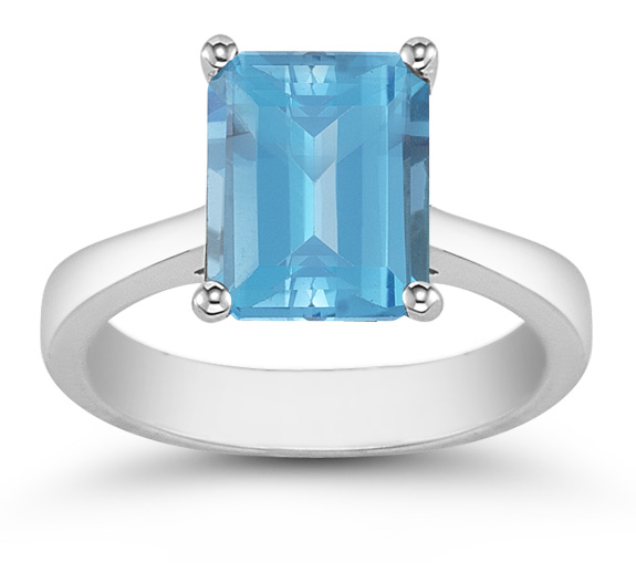 Emerald Cut Blue Topaz Solitaire Ring, 14K White Gold