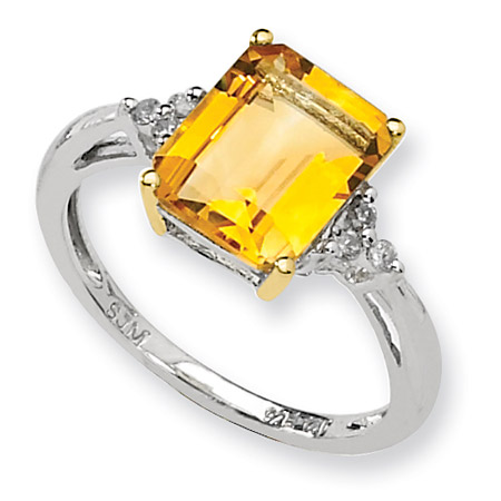 Emerald-Cut Citrine and Diamond Ring in Sterling Silver