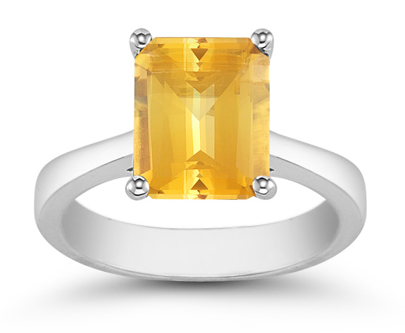 Emerald Cut Citrine Solitaire Ring in 14K White Gold