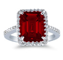 10 x 8mm Emerald-Cut Garnet and Diamond Ring, 14K White Gold