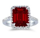 10 x 8mm Emerald-Cut Garnet and Diamond Ring, 14K White Gold