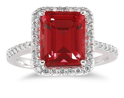 Emerald-Cut Garnet Diamond Cocktail Ring, 14K White Gold