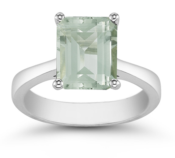 Emerald Cut Green Amethyst Solitaire Ring in 14K White Gold