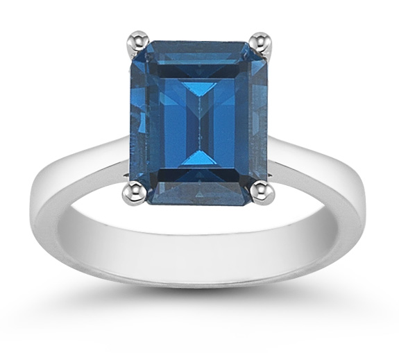 Emerald Cut 8mm x 6mm London Blue Topaz Solitaire Ring in 14K White Gold