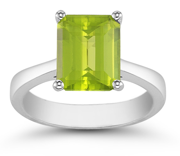 8mm x 6mm Emerald Cut Peridot Solitaire Ring, 14K White Gold
