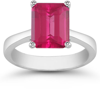 8mm x 6mm Emerald Cut Pink Topaz Solitaire Ring, 14K White Gold