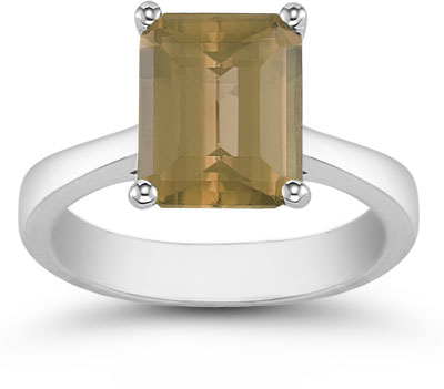 8mm x 6mm Emerald Cut Smoky Quartz Solitaire Ring, 14K White Gold