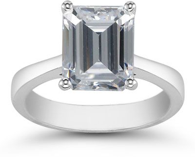 Emerald Cut Moissanite Solitaire Ring, 14K White Gold