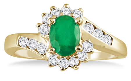 1 Carat Emerald Diamond Flower Twist Ring, 14K Gold
