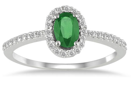 Emerald Diamond Halo Ring, 10K White Gold