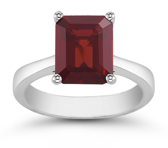 8mmx 6mm Emerald Cut Garnet Solitaire Ring in 14K White Gold