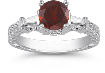 Garnet and Baguette Diamond Engraved Engagement Ring, 14K White Gold